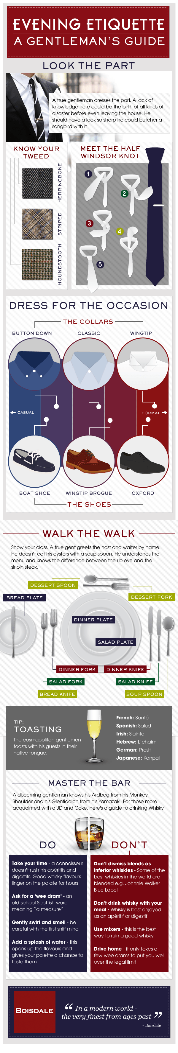 Gentlemans Guide For Evening Etiquette infographic