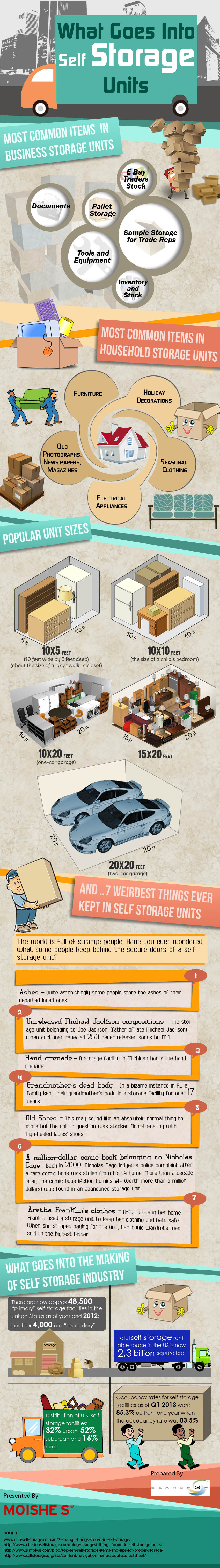 What goes into self storage units infographic
